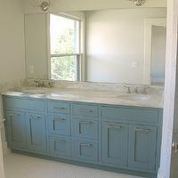 White & Gold Design - bathrooms - Benjamin Moore - Van Courtland Blue - vendome double sconce, visual comfort lighting sconce, van courtland...
