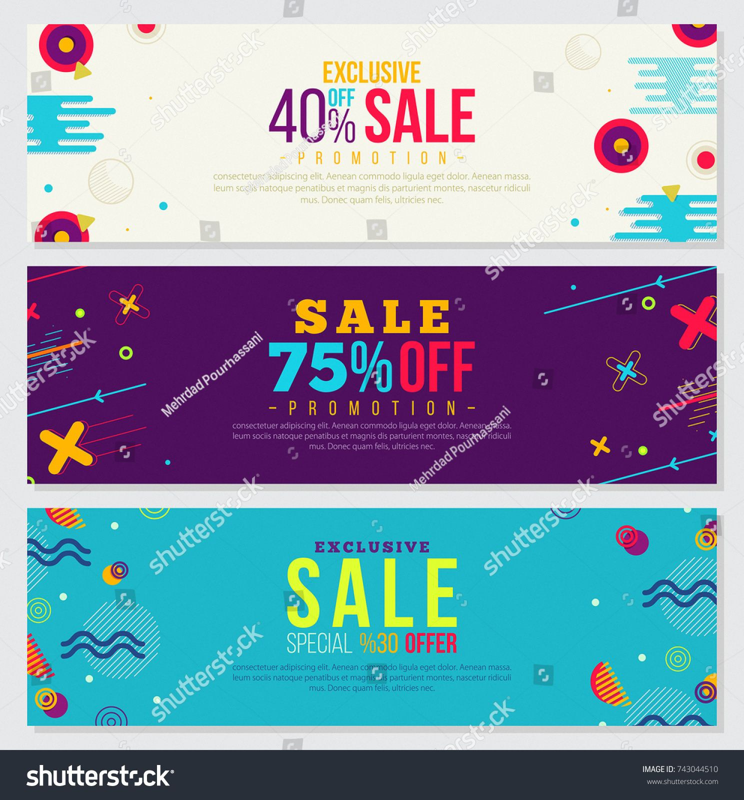 Memphis style Banner Design Set of Colorful templates 3D