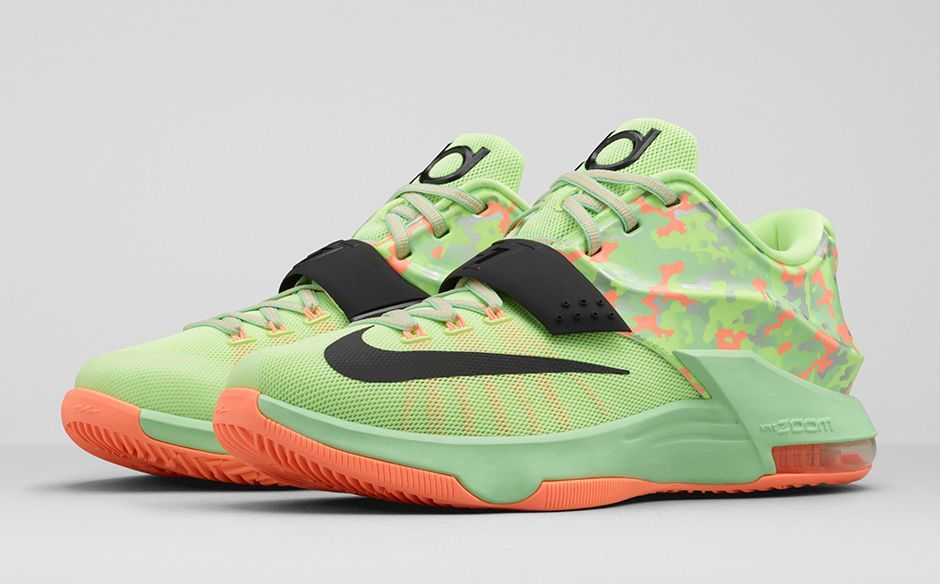 """on sale b8c2c 8ac68 ... Nike KD 7 """"Easter"""" edition mixes pastel-like hues and graphics to  celebrate the special holiday theme. KD7 Liquid Lime Vapor Green Sunset Glow  Black ..."""