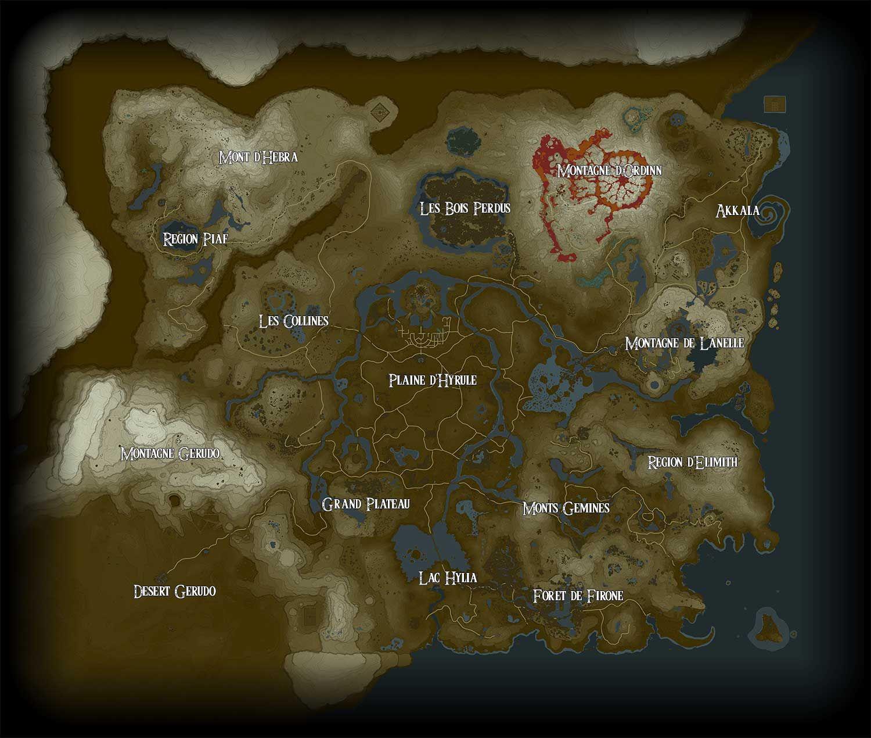 carte de zelda breath of the wild Zelda Breath of the Wild : La Carte Complète d'Hyrule et ses