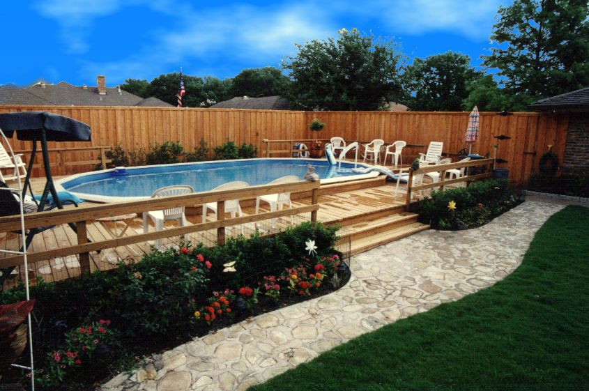 decks for above ground pools | Flagstone Walkway for Above Ground Pool with Luxury Deck