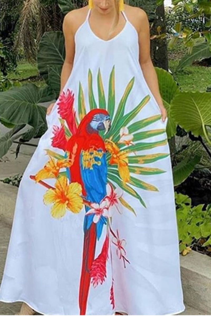 Women Parrot Print Maxi Loose Dress Sleeveless V Neck Floral Print Summer Dress Floral Print Dress Summer Party Dress Classy Dress Party Night [ 1200 x 800 Pixel ]