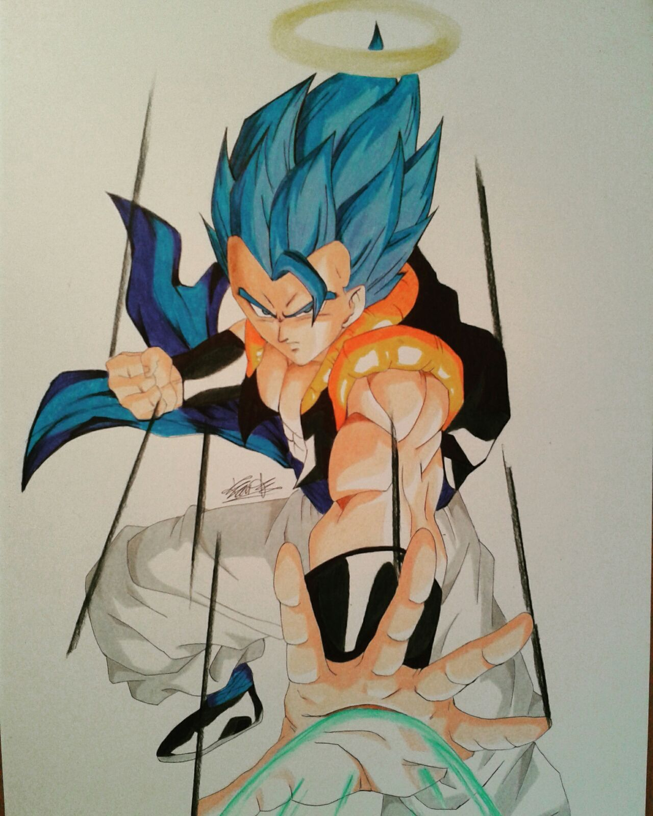 prismacolor colored pencil drawing pg Gogeta SSJBlue #gogeta #ssj #ssjblue #dbz