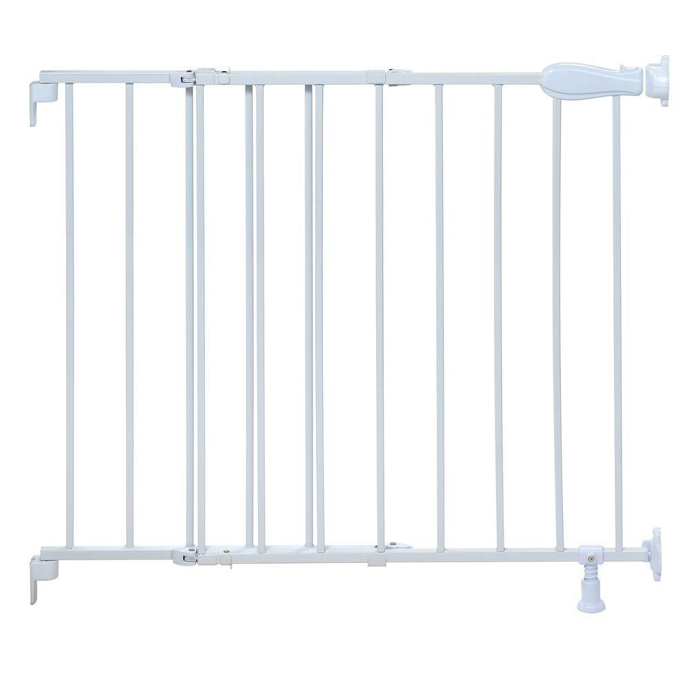 Summer Infant 30 In Top Of Stairs White Simple To Secure Metal Gate 27210a The Home Depot In 2020 Metal Baby Gate Top Of Stairs Gate Stair Gate