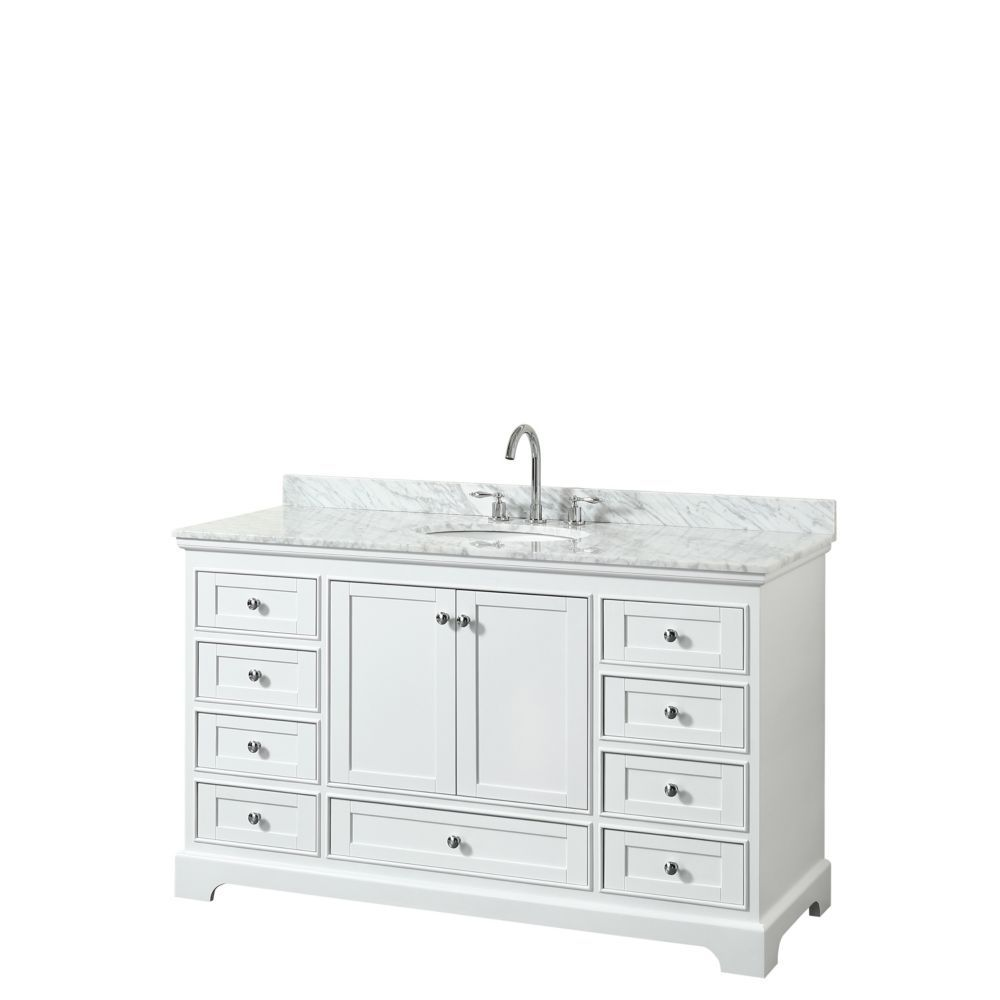Deborah 60 Inch Single Vanity In White Carrara Marble Top Oval