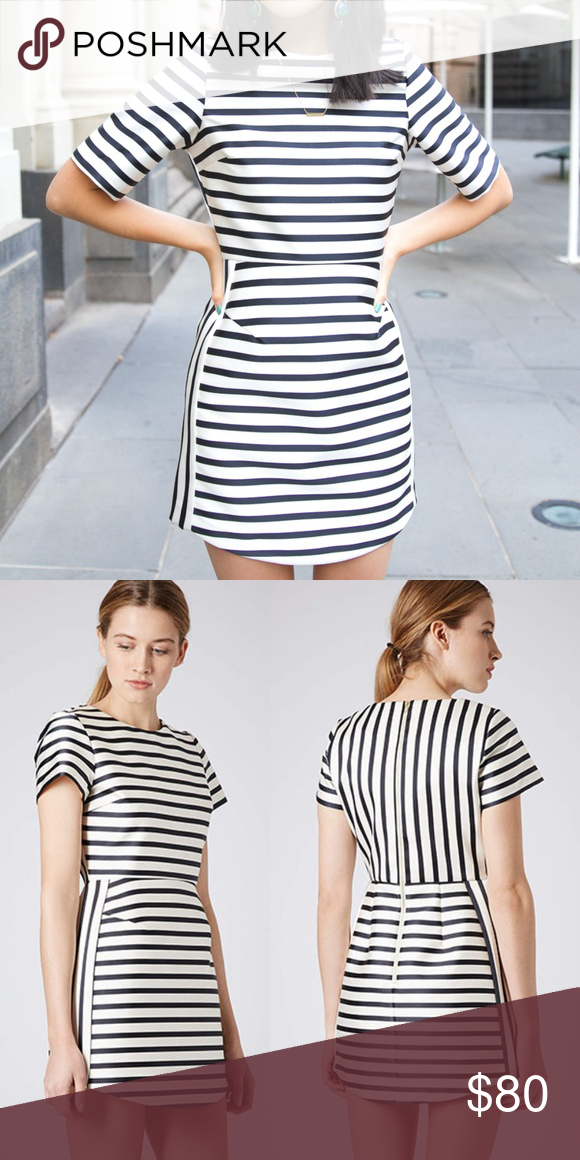 d2aa53f8609a TopShop Stripe Satin Dress The structured cream satin dress features short  sleeves and a-line skirt with navy stripes with zipper detail in the back.