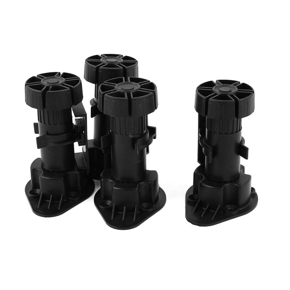 4pcs Black Adjustable Height Cabinet Cupboard Leg Foot For Kitchen Bathroom Cupboard Furniture Legs Kitchens Bathrooms