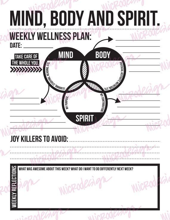Mind Body Spirit Weekly Wellness Plan By Microdesign On Etsy