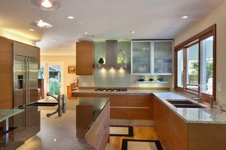 Teak Modern Kitchen Cabinets   Cherry Wood Contemporary ...
