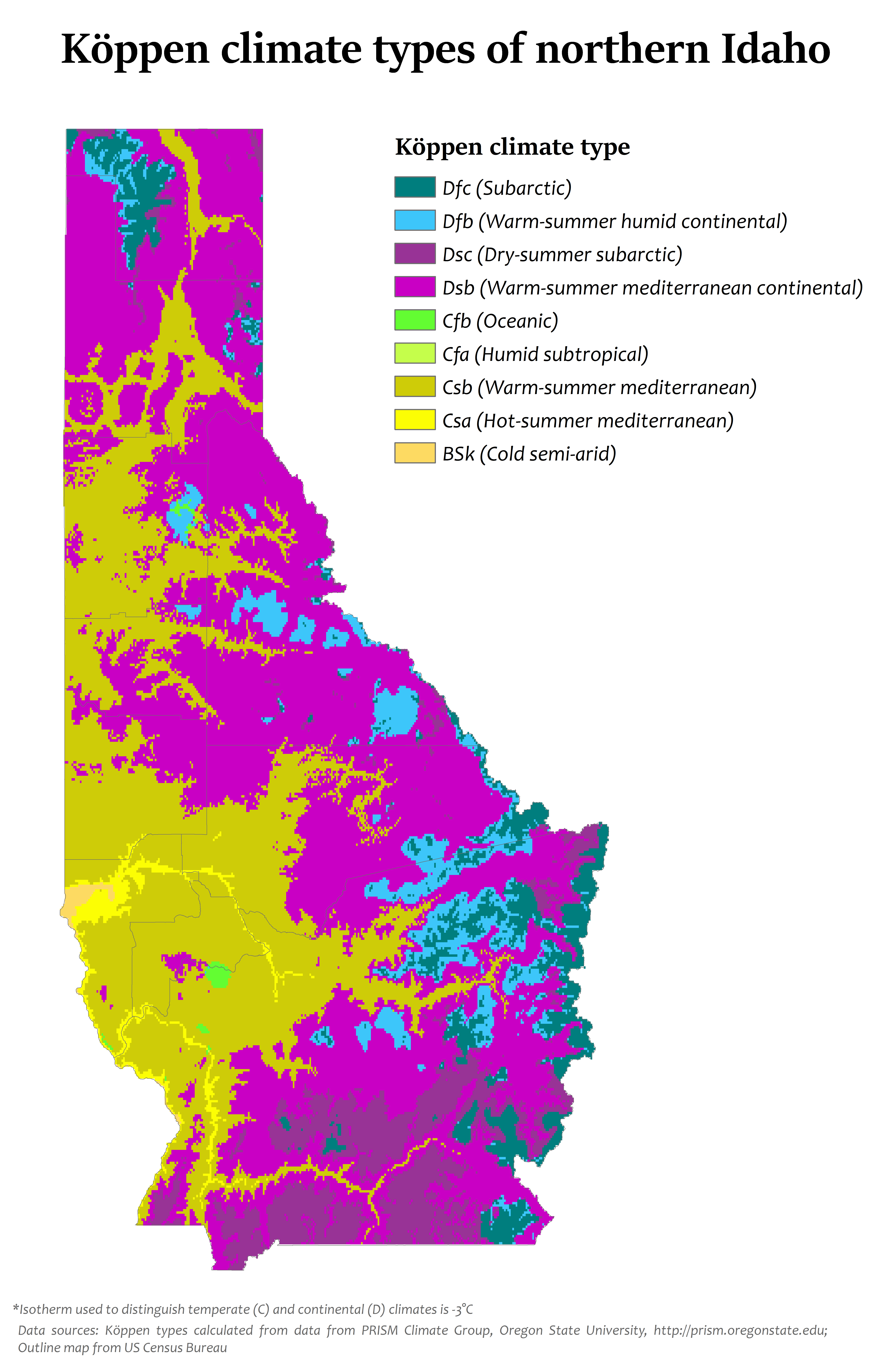 Kppen climate types in northern Idaho MAPS Pinterest Idaho