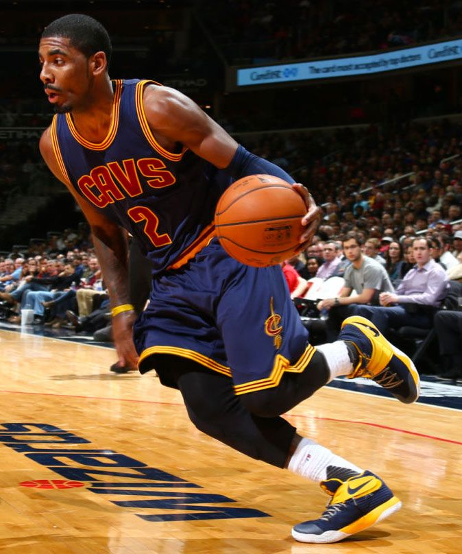 purchase cheap fe0d5 403f6 Kyrie Irving wearing a Navy Yellow Nike Kyrie 2 PE (1)