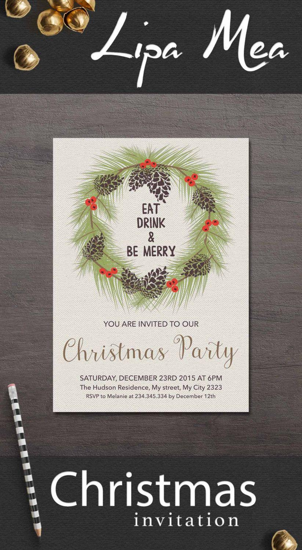 Christmas Invitation Printable, Christmas Party Invitation ...