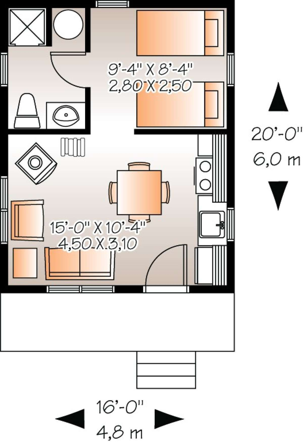 House Plan 034 00174 Small Plan 320 Square Feet 1 Bedroom 1 Bathroom In 2020 Tiny House Layout House Plans Cabin House Plans