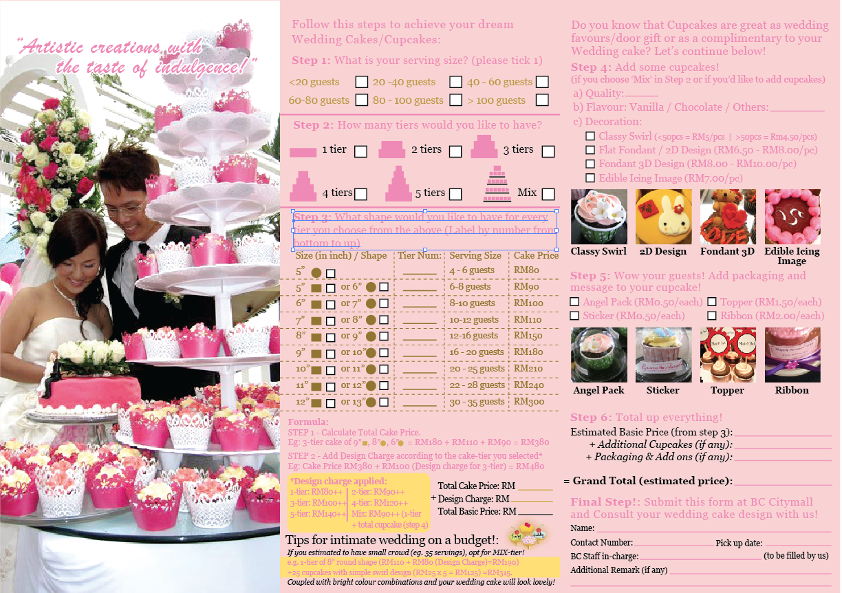Wedding Cake Order Form  Cake Business Order Form