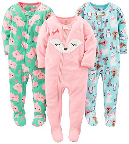 9aba827cc Simple Joys by Carter's Baby Girls' Toddler 3-Pack Flame Resistant Fleece  Footed Pajamas, Polar Bear/Pigs/Fox, 4T