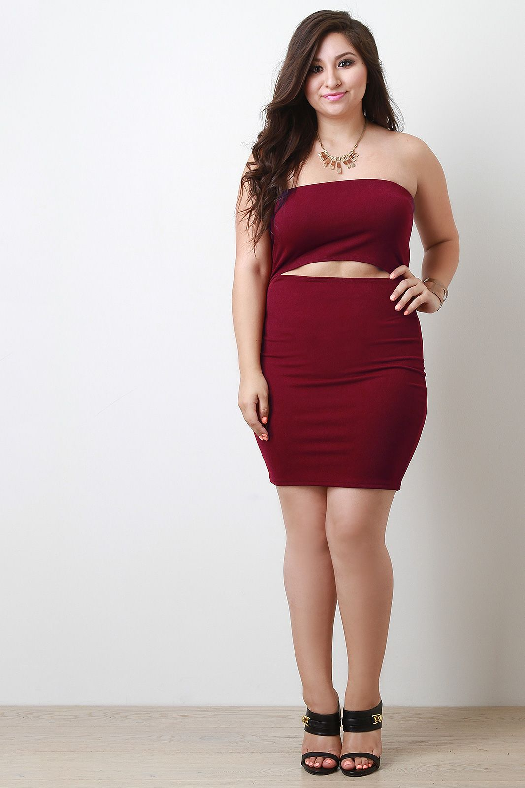Burgundy Keyhole Midsection Tube Dress In Plus Size Hello Fall