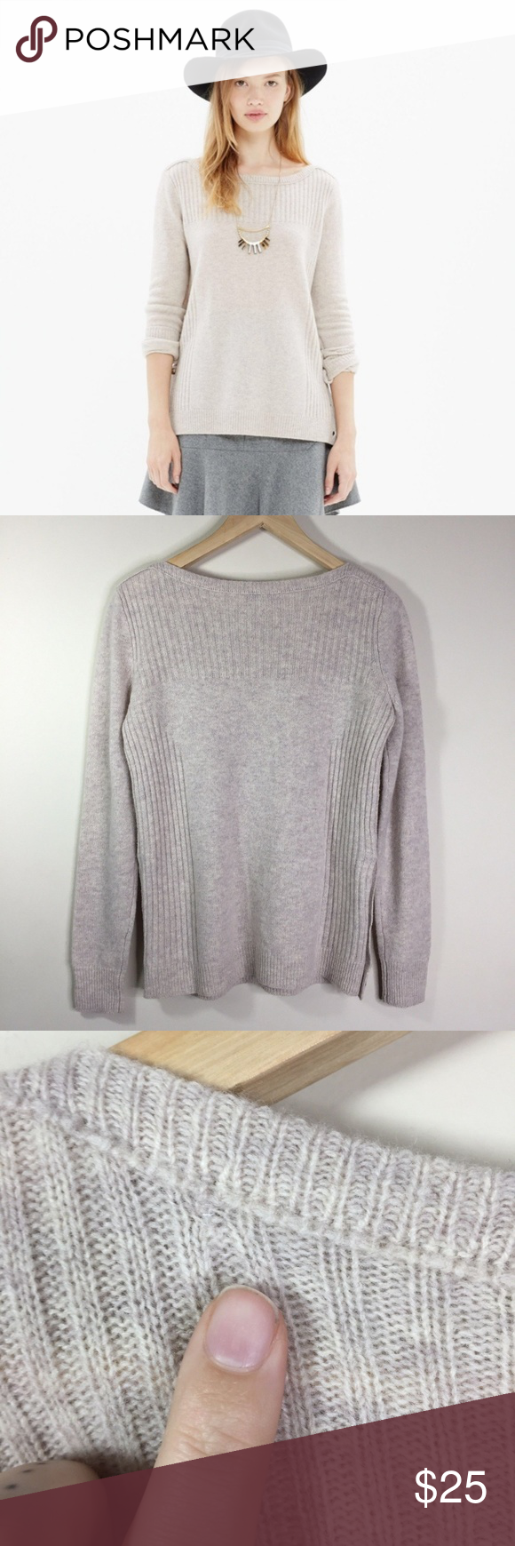bbf9f85989c Madewell Small Oatmeal Pull Over Sweater I Madewell Small Oatmeal Pull Over  Long Sleeve Side Button