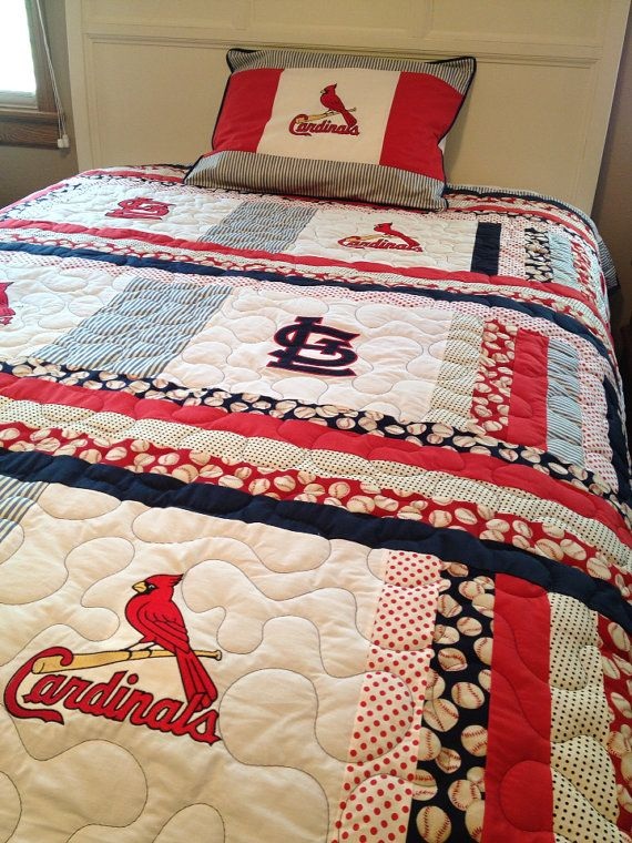 St. Louis Cardinals Twin Size Quilt With By Sewsosweetdesigns, $300.00
