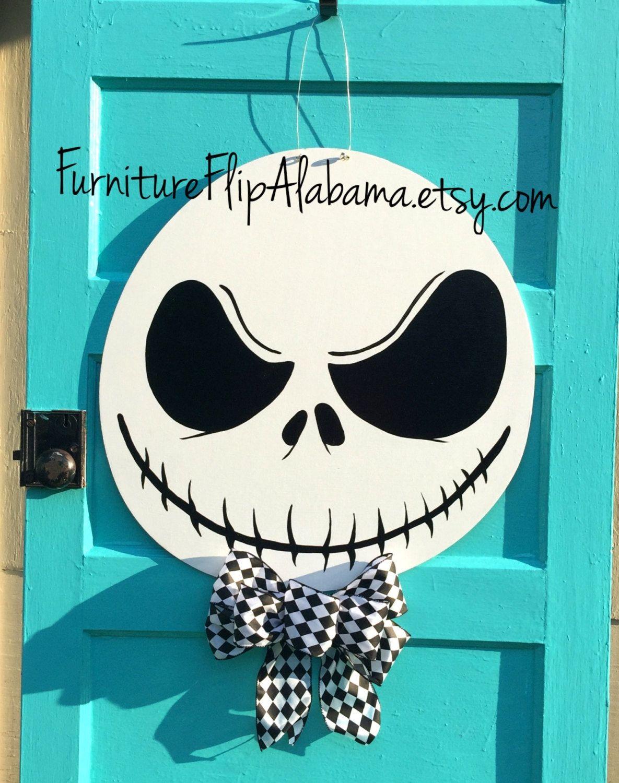 Halloween Door Hanger Jack Skellington Wreath Skeleton Door Hanger Jack Skellington Door Ha Halloween Door Hangers Christmas Door Hanger Halloween Pallet Signs