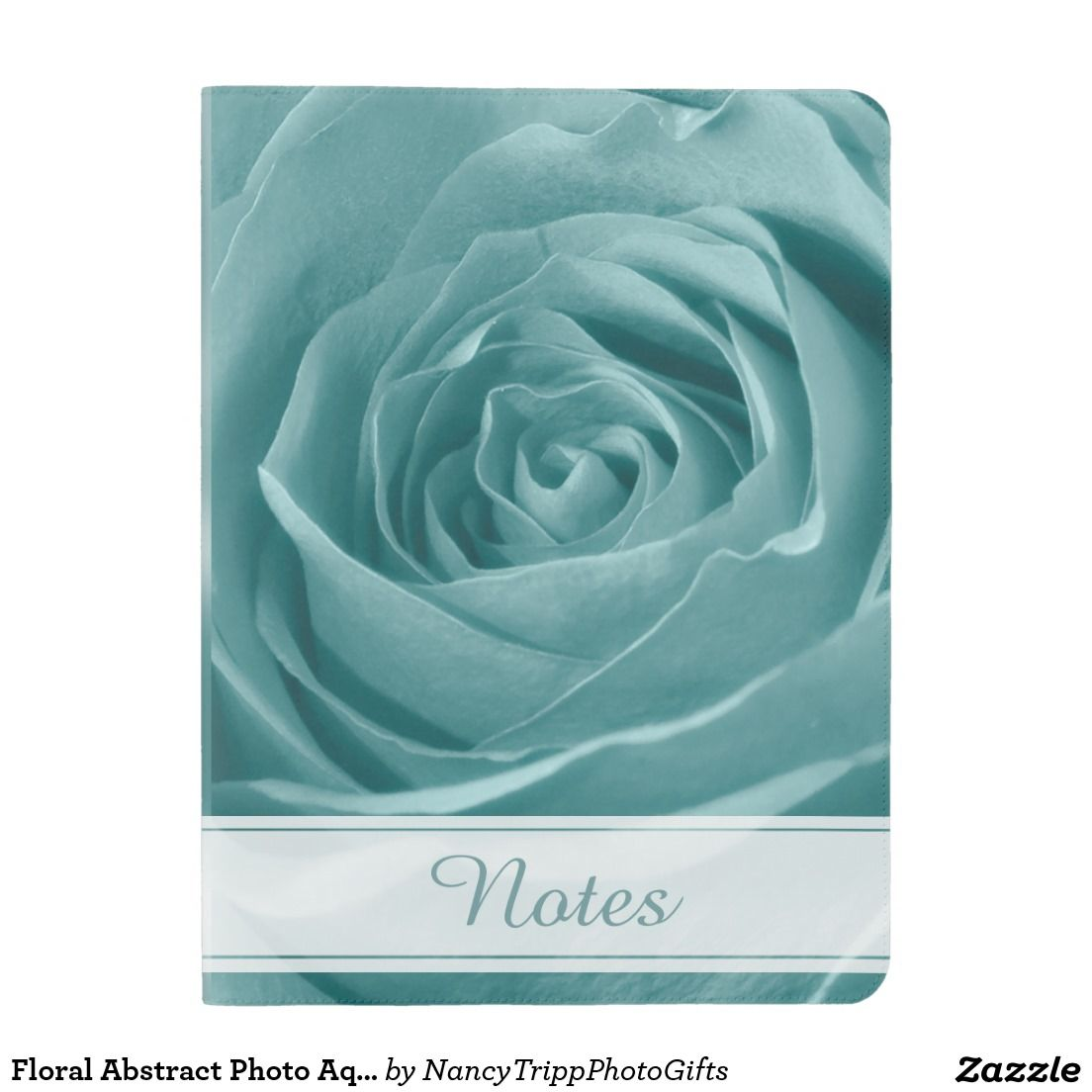 Floral Abstract Photo Aqua Rose Personalized Extra Large Moleskine Notebook Cover With Notebook