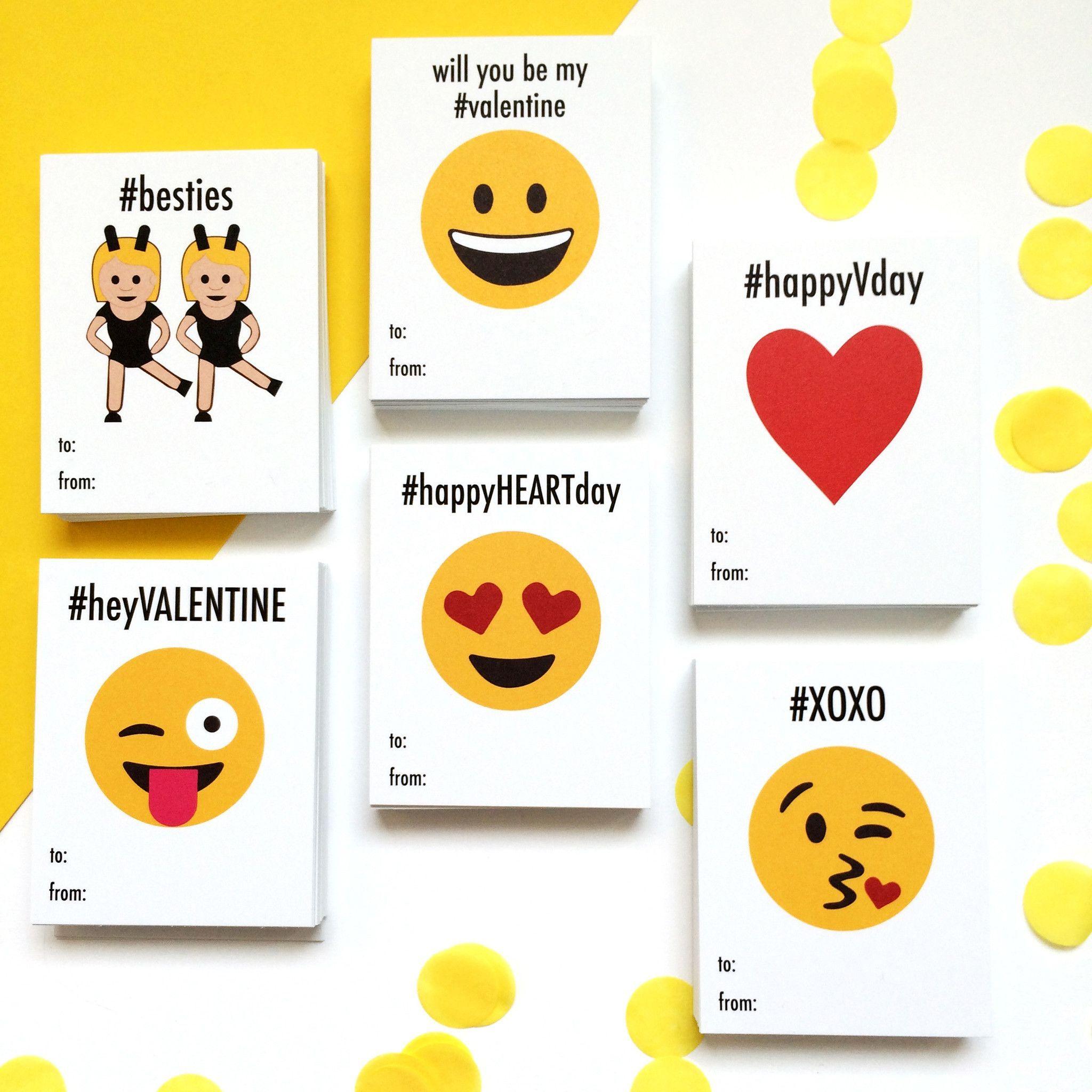 Printable Emoji School Valentine Cards