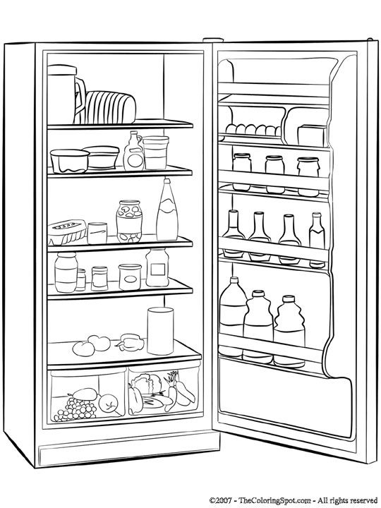 Image detail for -Refrigerator | Free printable coloring pages for ...