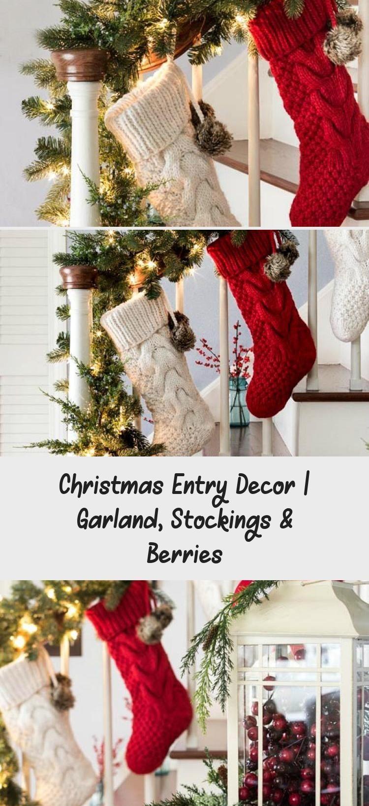 Christmas Entry Decor Garland Stockings Berries Home Decor Diy Christmas Entry Decor Garland St In 2020 Christmas Entry Entry Decor Woodland Christmas Decor