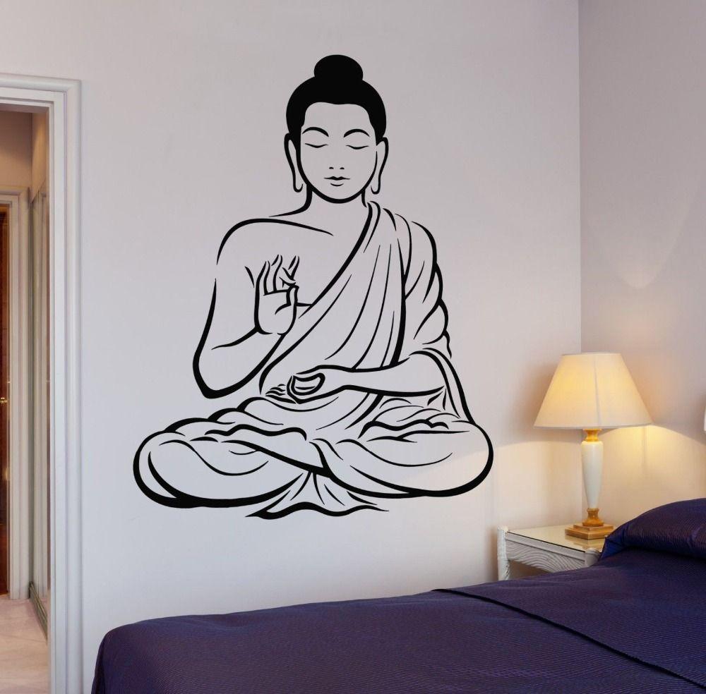 Arbol de buda flor de yoga pared del vinilo budismo om relajacion room