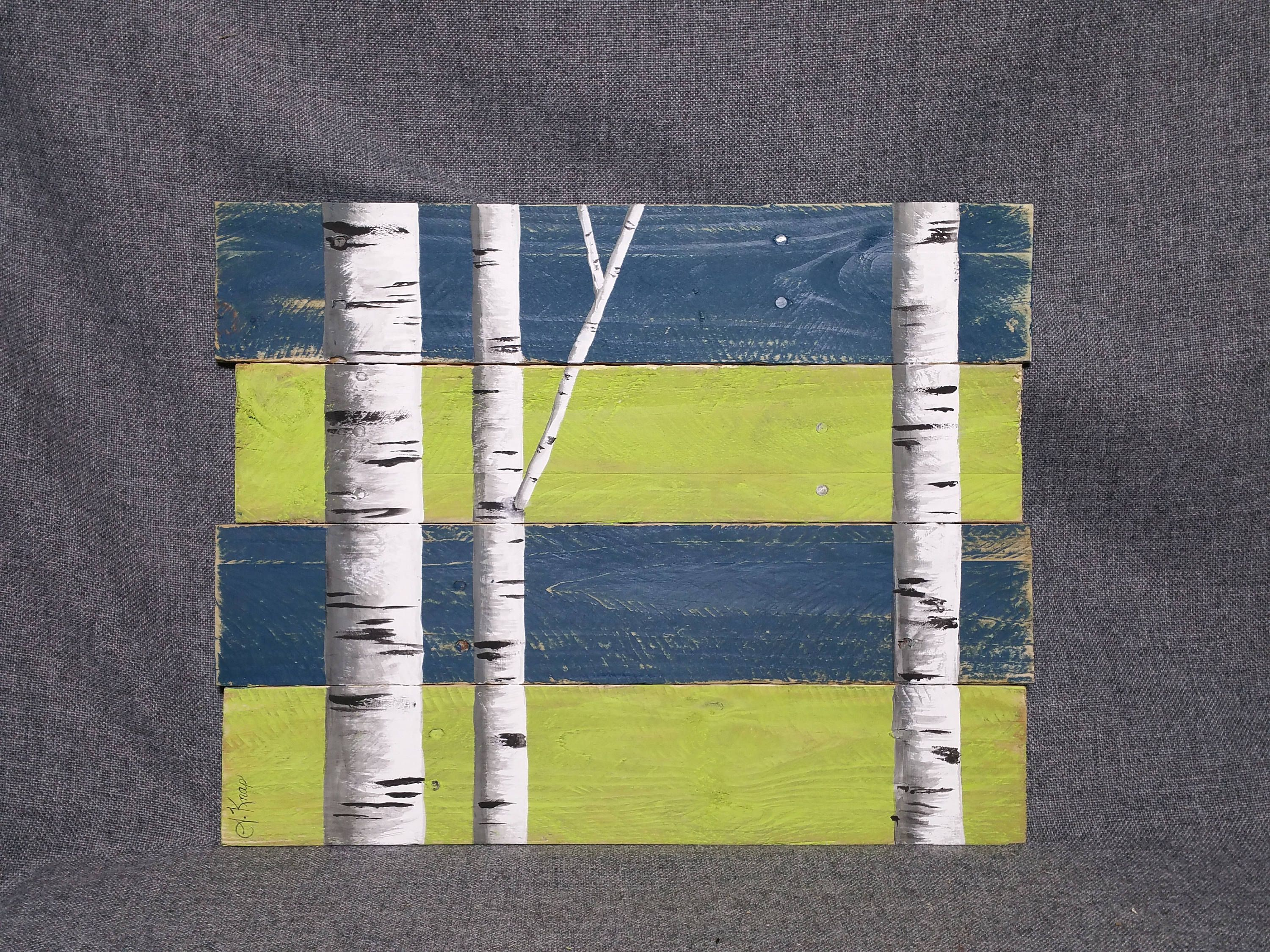 Nautical decor, summer stripes, White Birch, Blue and lime green ...