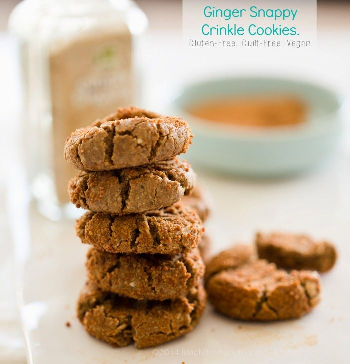 Beautiful recipe!!!-->Ginger Snappy Crinkle Cookies. Gluten-Free. Guilt-Free. Vegan. @kathypatalsky