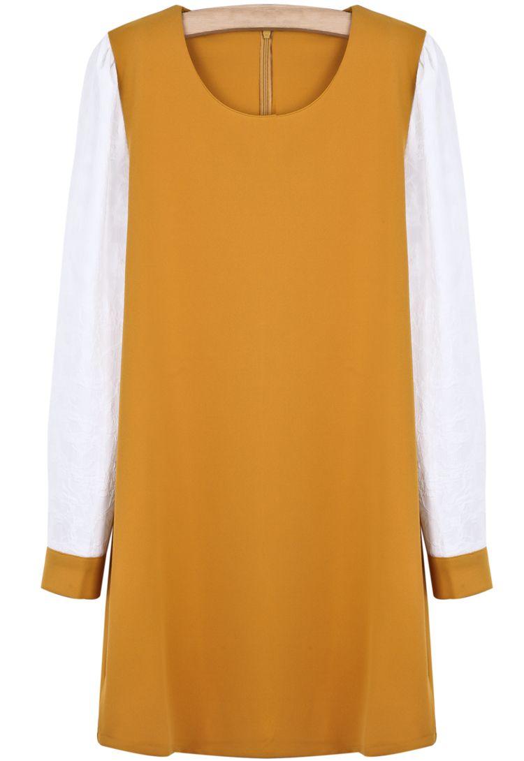Yellow contrast long sleeve simple design dress sheinside