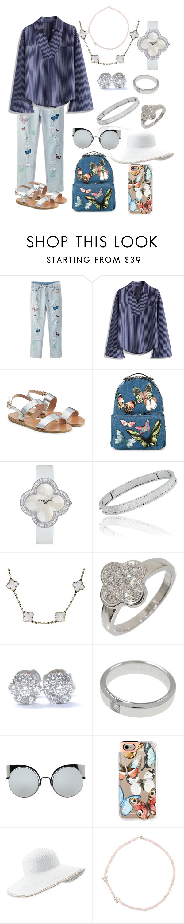 """Untitled #254"" by amlak85 ❤ liked on Polyvore featuring Chicwish, Ancient Greek Sandals, Valentino, Van Cleef & Arpels, Fendi, Casetify, Eric Javits and NOVICA"