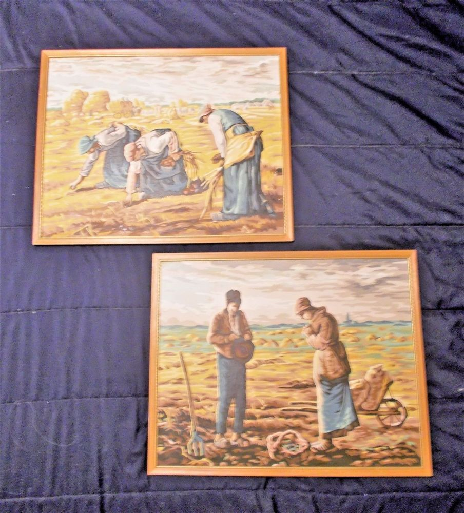 Vtg Pair Paint By Number Paintings The Gleaners And Angelus Millet 20 X 16