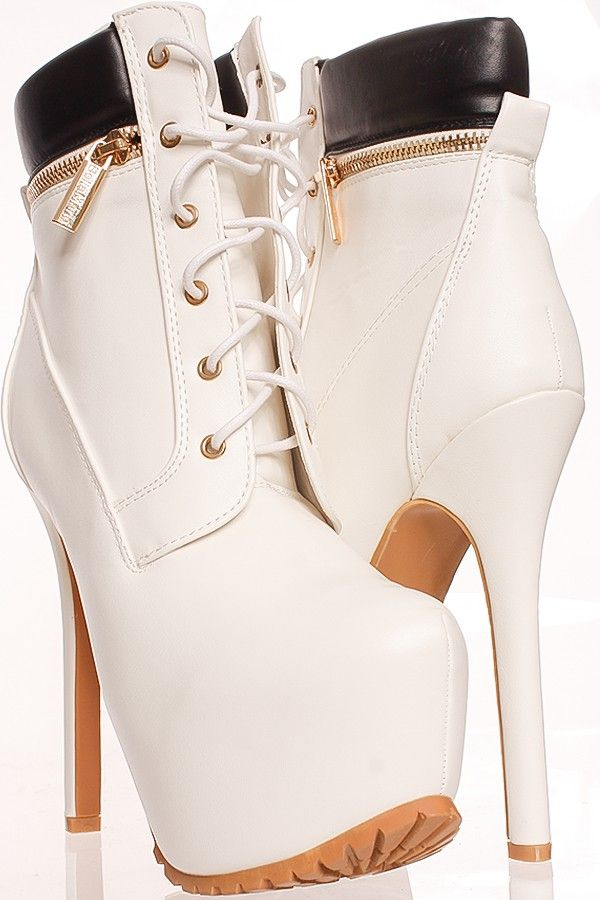 7367cda65a17 WHITE FAUX LEATHER FRONT LACE DESIGN ZIPPER ACCENT LOOK CASUAL PLATFORM  HIGH HEEL BOOTIES