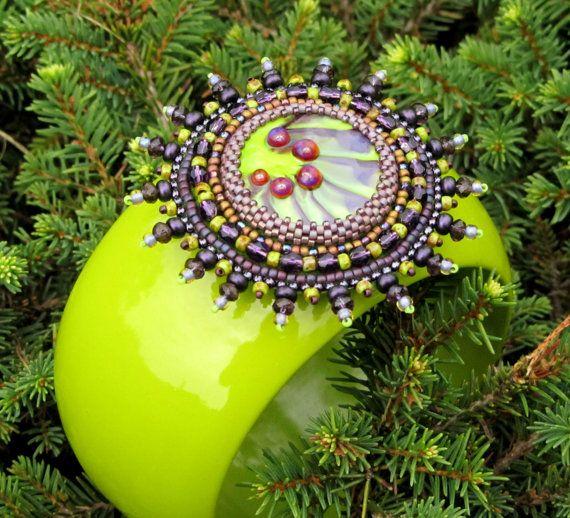 OOAK Green Purple Bead Embroidered  Cuff Bracelet
