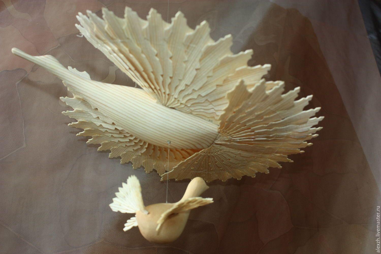 Купить Щепная Птица-счастья - бежевый, птица-счастья, дерево, сувенир на счастье, сувенир на достаток
