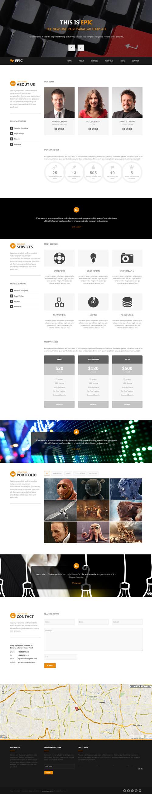 Epic One Page Parallax Html Template Webtemplates Webdesign Onepagetemplates Onepagewebsites Psdtemplates Web Template Design Html5 Templates Web Design