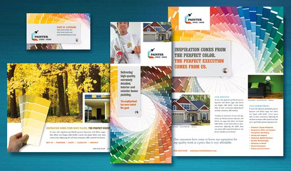 House Painting Contractor Brochure, Postcard, Flyer & Ads