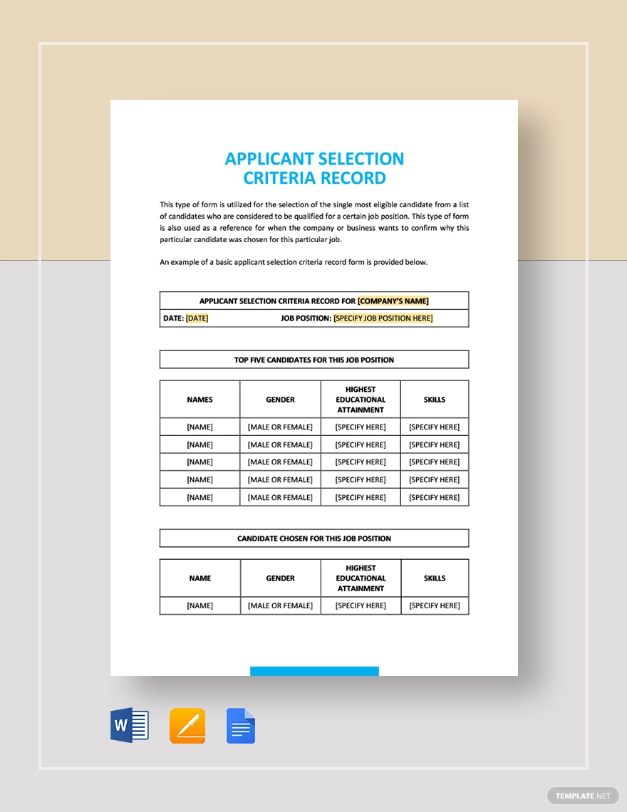 Sample Applicant Selection Criteria Record Templates Application Records