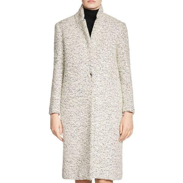 Maje Glea Boucle Coat ($685) ❤ liked on Polyvore featuring outerwear, coats, china gray, gray coat, maje coat, grey coat, boucle coat and maje
