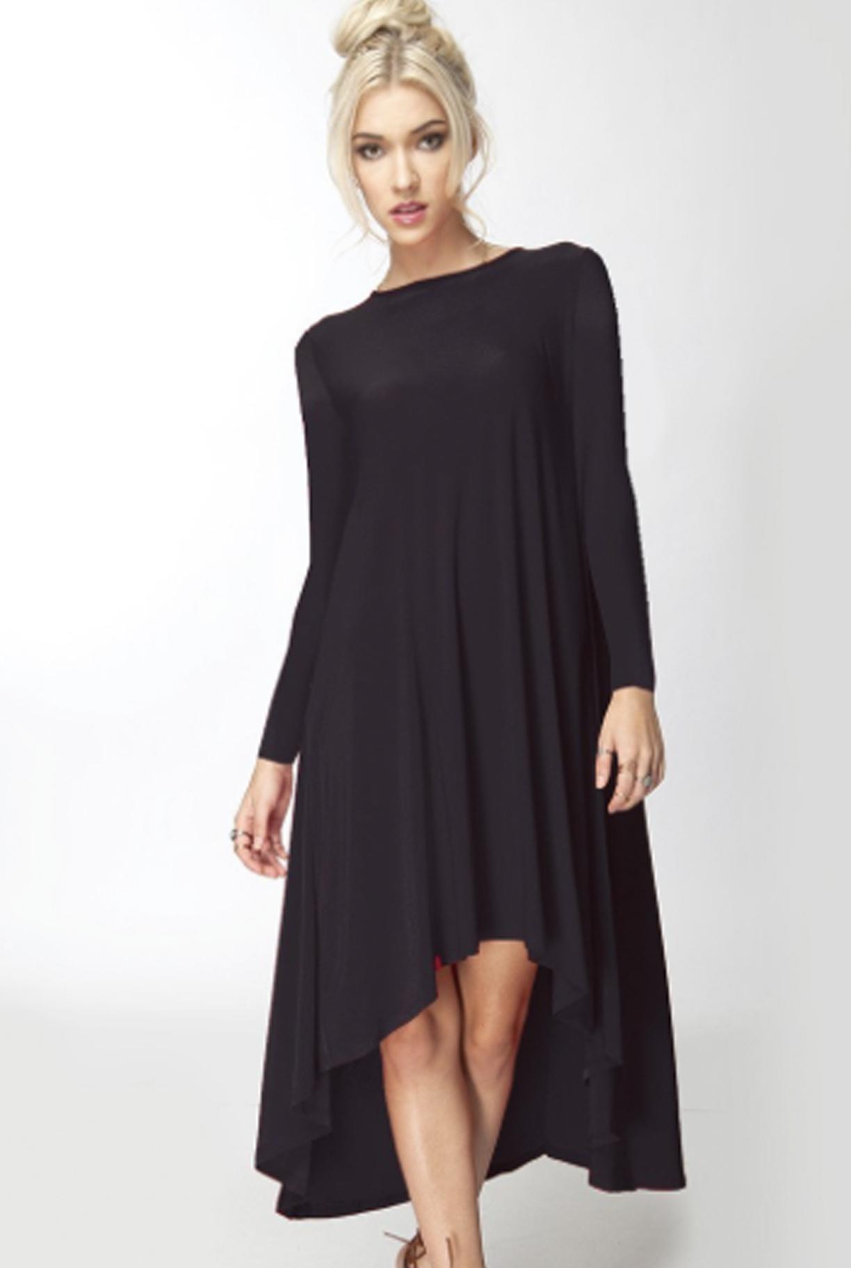 The Meredith Black Long Sleeve Hi Lo Drape Dress Long Sleeve High Low Dress Navy Blue Long Sleeve Dress Dresses [ 1824 x 1224 Pixel ]