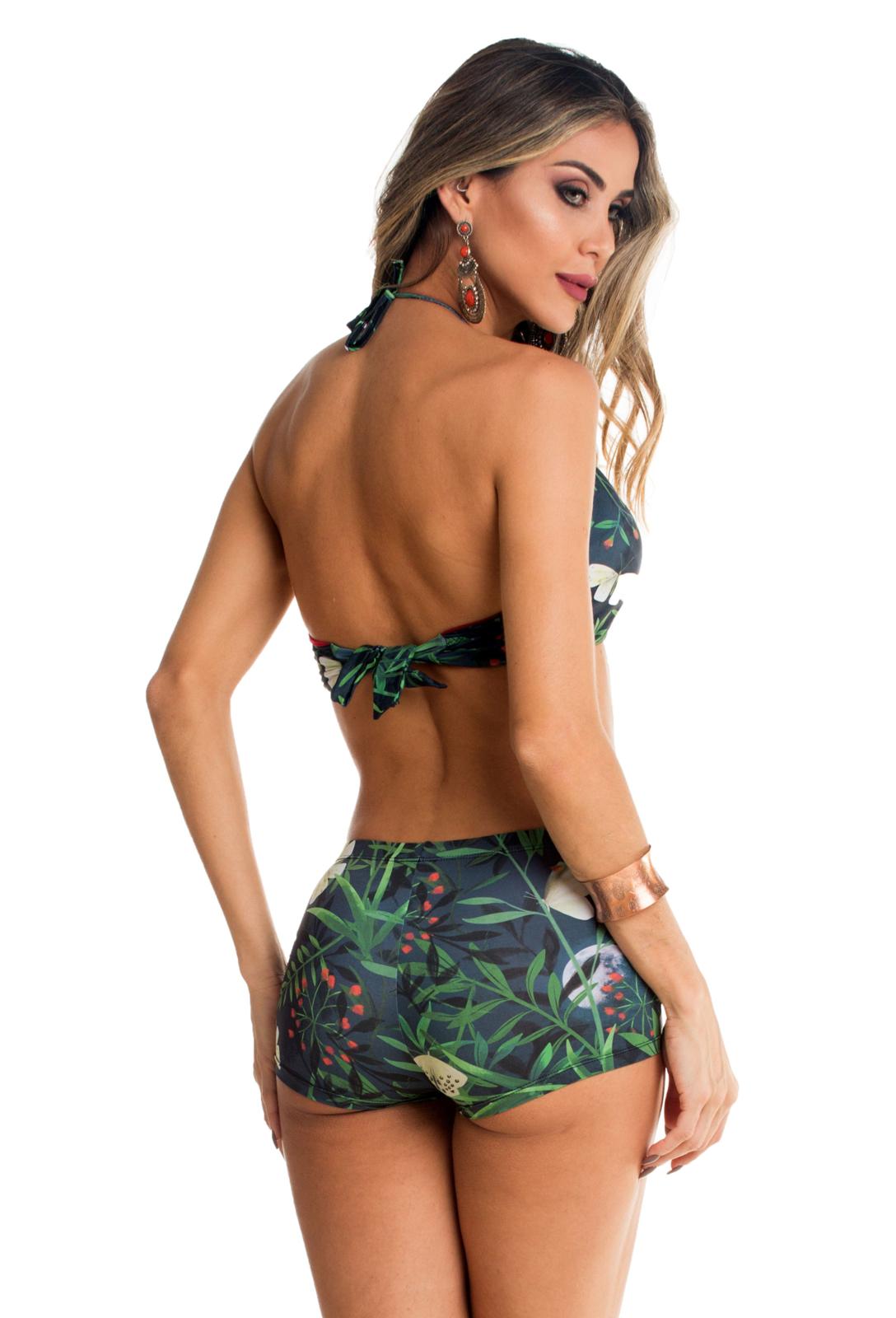 578a52439fd1 Biquini Cropped com Bojo e Shortinho Maré Brasil Verde Multicolorido ...