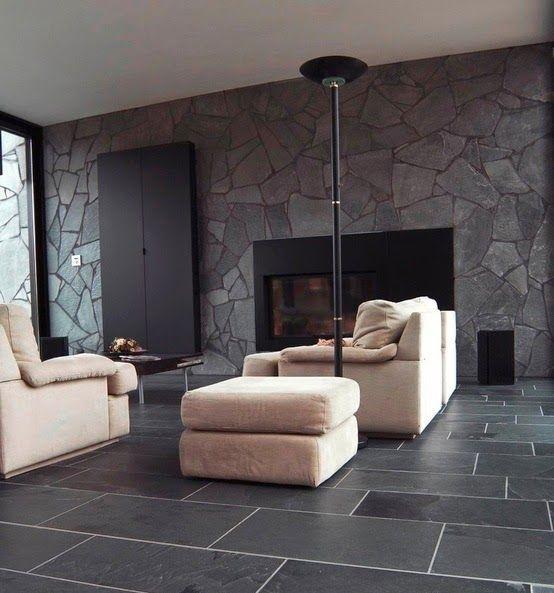 Mur en pierre naturelle dans le salon le charme de la for A plus salon normal il