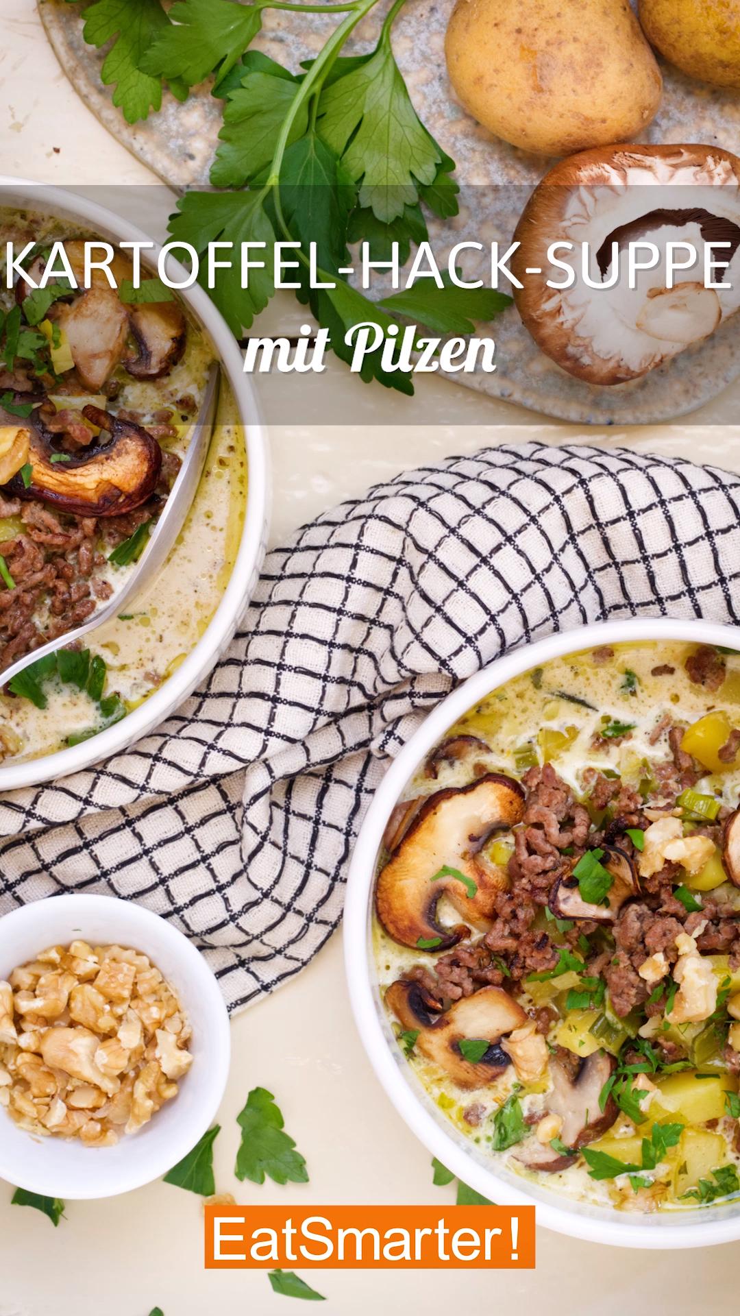 Schnelles Abendessen: Kartoffel-Hack-Suppe mit Pilzen