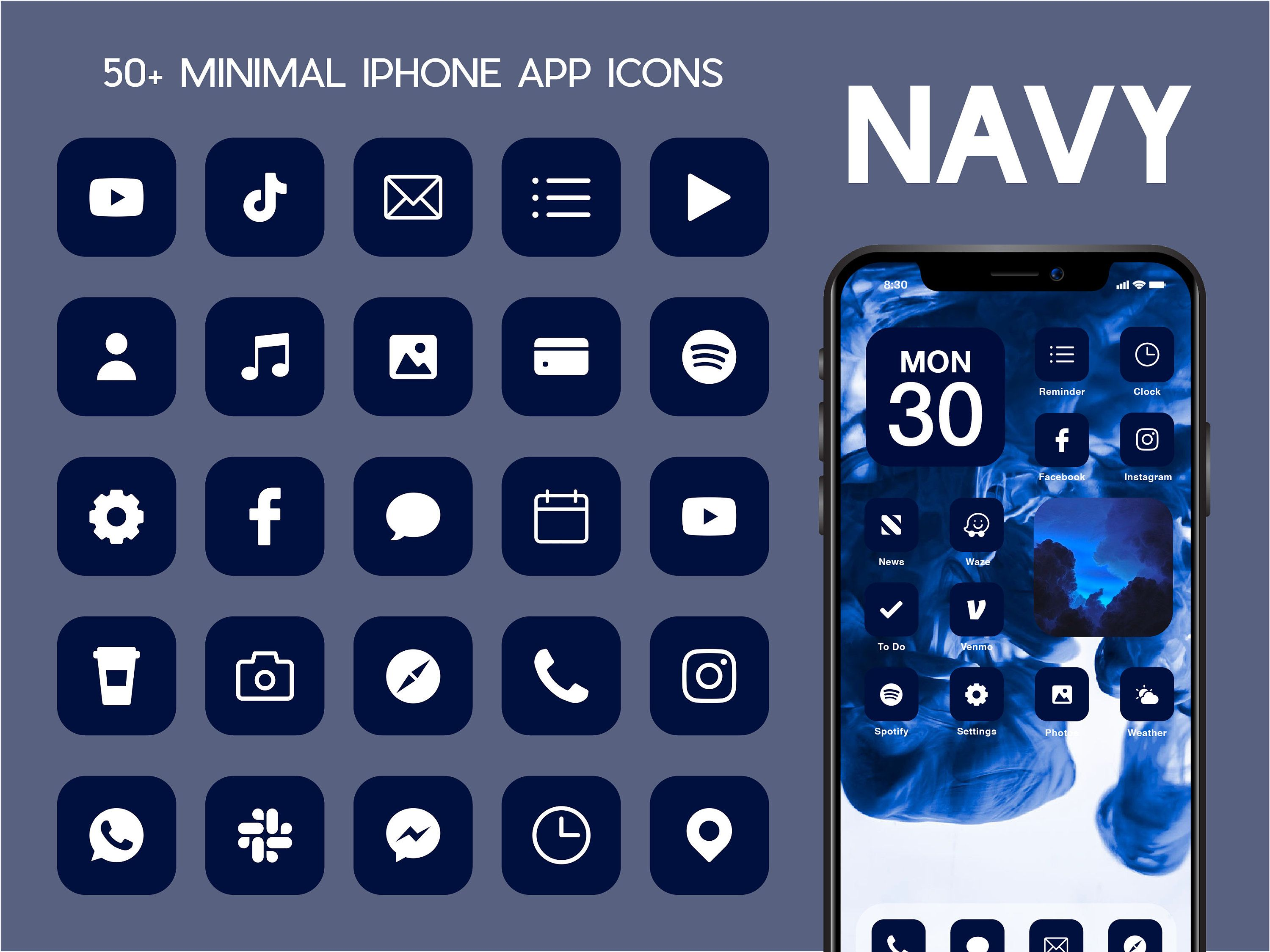 Ios Navy App Icons 100 Blue Minimal Ios 14 Modern Icon Pack In 2020 Ios App Icon App Icon Iphone App Layout