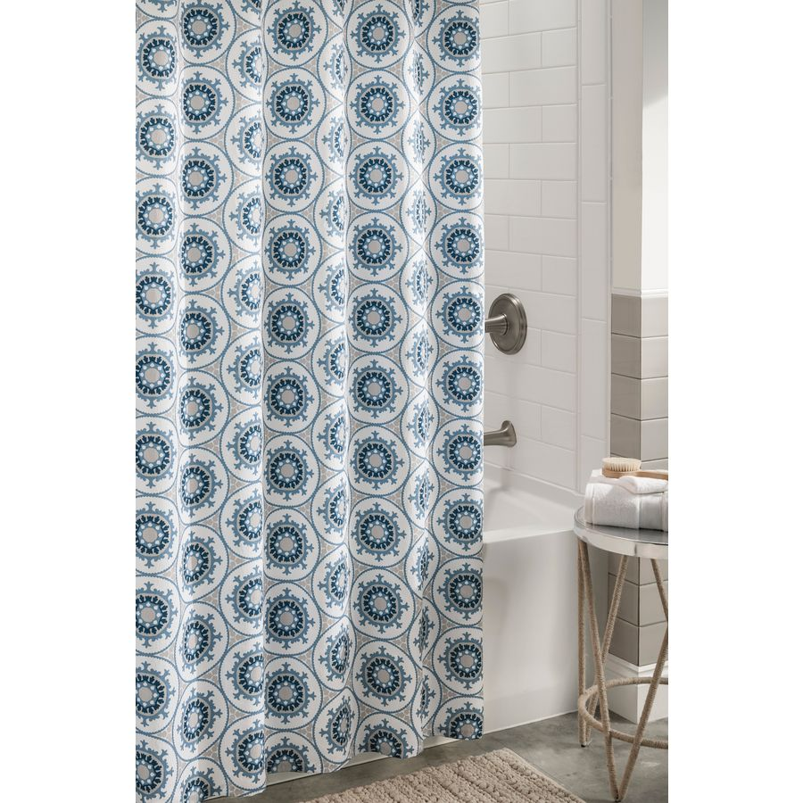Blue bathroom curtains - Allen Roth Polyester Blue Patterned Shower Curtain