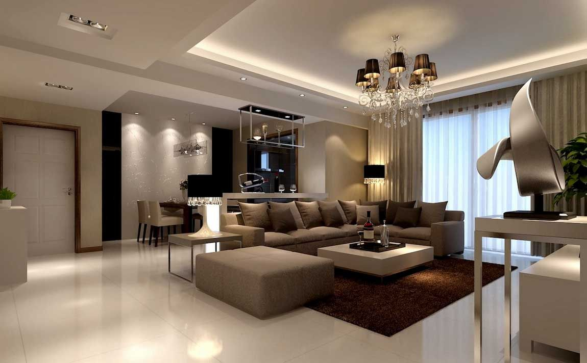 Illuminazione-soggiorno-moderno-combinata-con-il-design-tema-salone ...