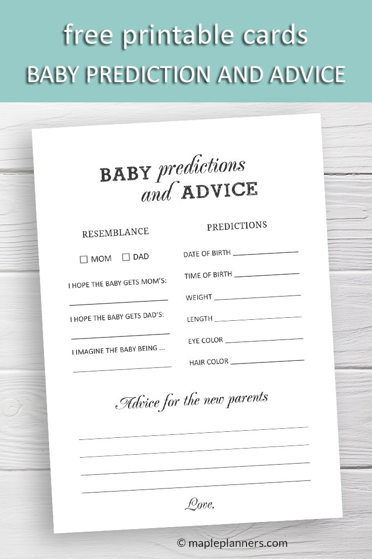 Free Printable Baby Prediction And Advice Cards Baby Shower Games Free Baby Shower Printables Baby Shower Advice Cards Baby Prediction