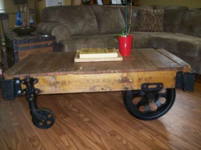 Antique Industrial Cart Vintage Industrial Style Industrial Furniture Coffee Table