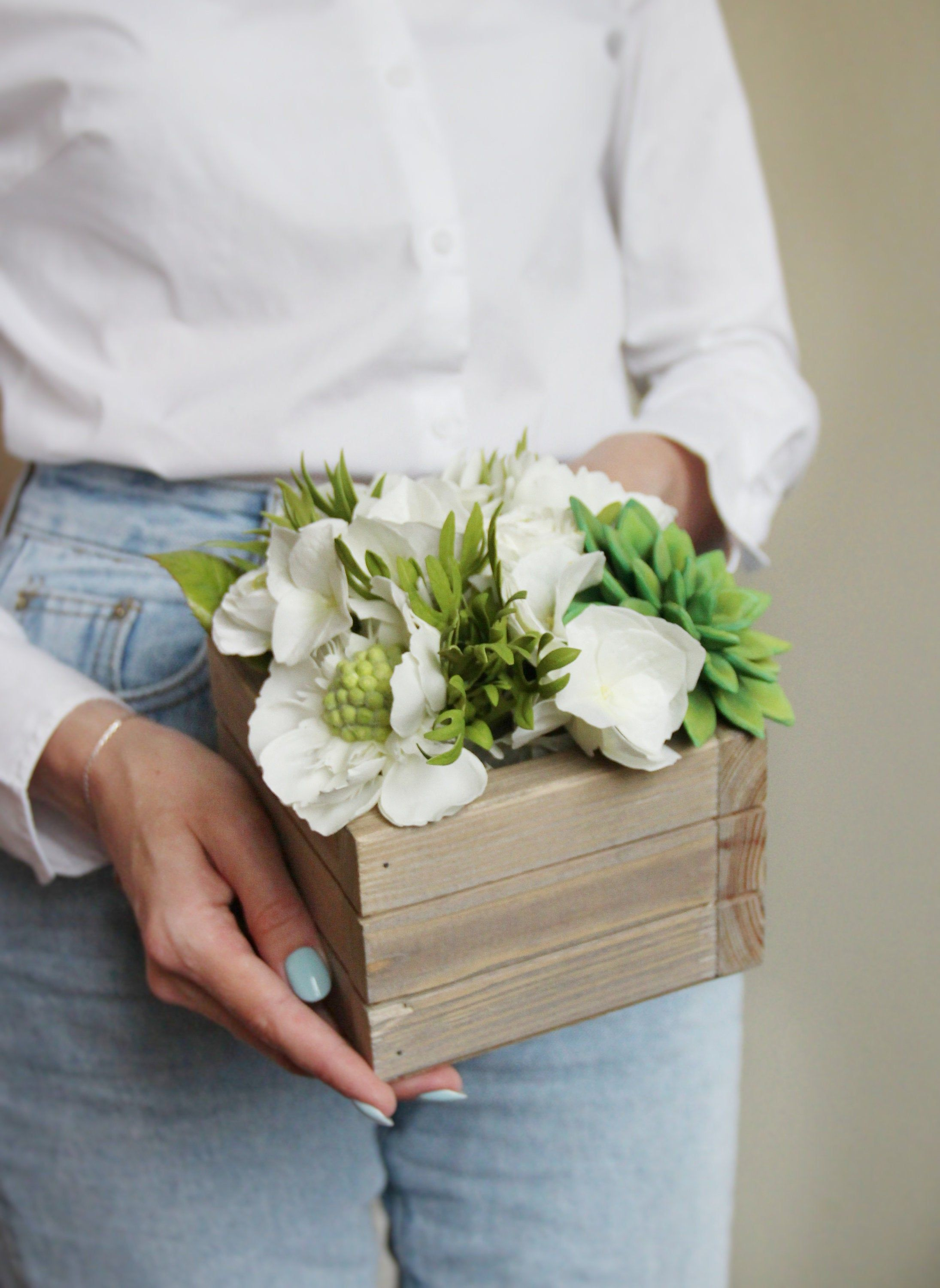 White greenery bouquet Succulent bouquet Flowers in wooden